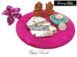 Velvet Tray With Khoya Barfi
