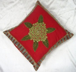 Flower Hand Embroidered Cushion Cover