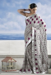 Sareegalaxy - Light Grey Faux Georgette Saree With Blouse