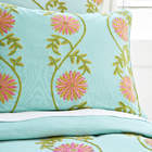 Crewel Bedding Sunflower Vine Aqua Cotton Duck Duvet Cover