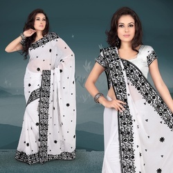 Iced White Faux Georgette Saree With Blouse