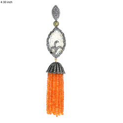 Carved Jade Diamond Tassel Pendants
