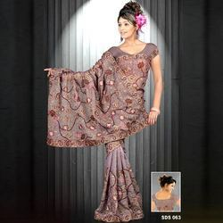 Thread Embroidered Faux Georgette Sarees