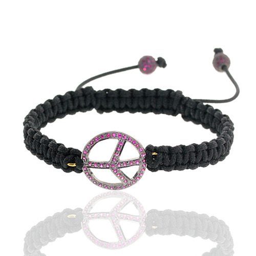 Ruby Peace Charm Macrame Bracelet