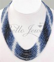 Blue Sapphire Beads 7 Strand Necklace