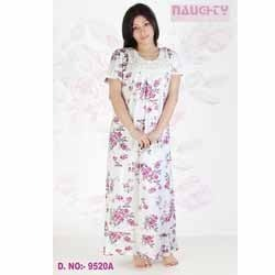 White Nighty With Floral Design