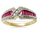 Cross Pattern Ruby Ring