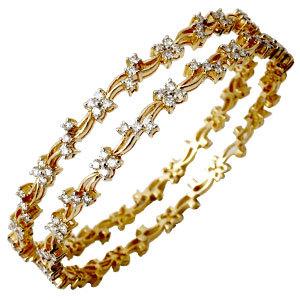 Designer Diamond Studded Gold Bangles