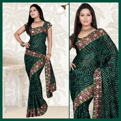 Black Viscose Saree With Blouse (134)