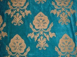 Crewel Fabric Konark Olive on Turquoise Cotton Velvet