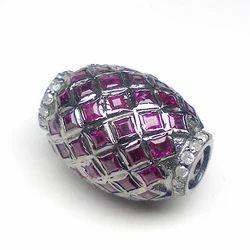 Diamonds And Ruby Pave Set Beads