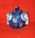 blue pottery incense holder cum candle stand