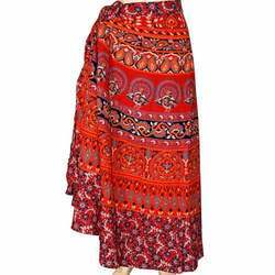 Hand Block Print Cotton Floor Length Wraparound Skirt