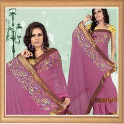 Deep Pink Faux Georgette Saree With Blouse