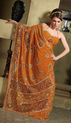 Orange Georgette Wedding Saree With Tissue Patch Work
