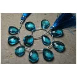 Swiss Blue Quartz Faceted Pear Shape Briolettes