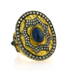 Pave diamond Gold rings with blue sapphire