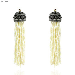 Designer Pearl Beads Diamond Tassel Earrings