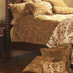 Crewel Bedding Art Nouveau Chocolate Brown Cotton Velvet