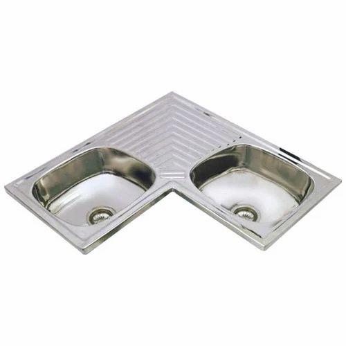 Stainless Steel Kitchen Sink - AMC Corner Double Sink Manufacturer ...