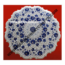 Round Marble Inlay Coffee Table Tops