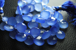 Blue Chalcedony Faceted Heart Briolettes
