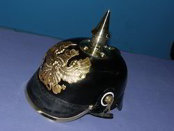 Leather German Helm Spike With Chin Strap Inner Lining