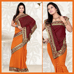 Deep Orange Faux Georgette Saree With Blouse (108)
