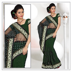 Lush Green Faux Georgette Saree With Blouse (210)