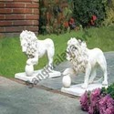 Lion Pair Rolling A Ball Statue
