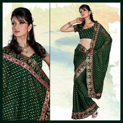 Mossy Deep Green Viscose Saree with Blouse (145)