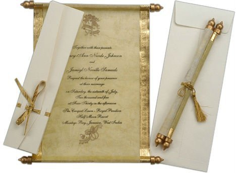 Antique Theme Scroll Invitations