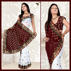 White Faux Georgette Saree With Blouse (133)