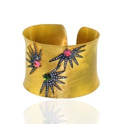 Tourquise Studded Gold Bangle