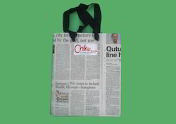 News Paper Bags With Ribbon Handles