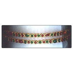 High Gold Plating Moti Ruby Green Pota Bangles