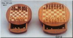 Round Wooden Chess