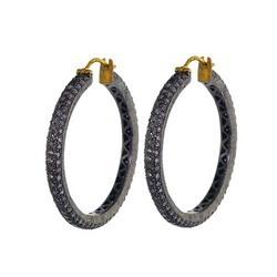 diamond antique hoop earrings 14k gold jewelry