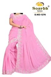 Saree With Silver Embroidery (1276)