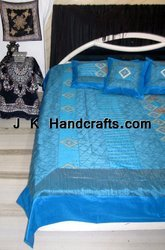 Beautiful Ethnic Silk Hand Embroidered Bed Sheets