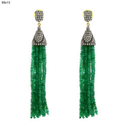 Emerald Gold Diamond Tassel Earrings