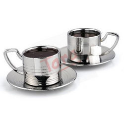 Steel Tea Cups with Steel Saucers