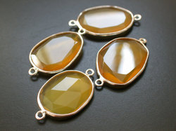 Yellow Chalcedony Faceted Slicel Sterling Silver Connector