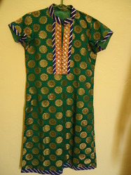 Green Chanderi Suit