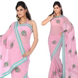 Pretty Pink Faux Georgette Saree With Blouse