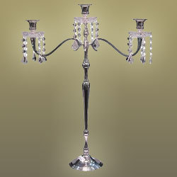 3 Light Candelabra With Draping Crystals