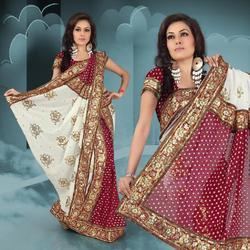 Maroon Viscose Lehenga Style Saree With Blouse