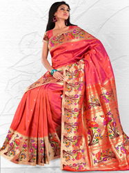 Lotus Standing Rich Border Sarees