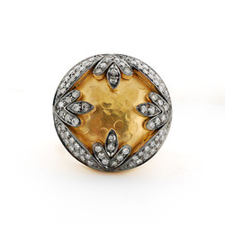 Hammered pave diamond gold ring