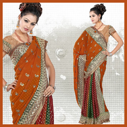 Multicolour Viscose Saree With Blouse (32)